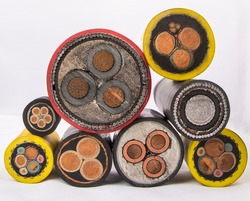 Cross section of high-voltage cable, polymer insulation