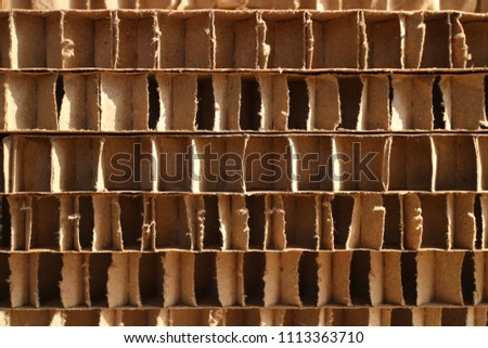 Cross section of honeycomb cardboard layers that look like architectural design model. #1113363710