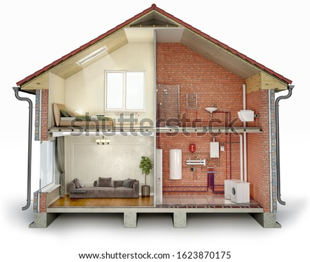 Cross section of house, divided into renovated part and unfinished part with pipes, 3d illustration Stock photo ©