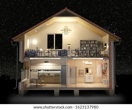 Cross section of house full of light in the night, 3d illustration