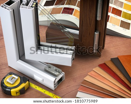 Cross section  of plastic PVC window and catalogue swith watches in office. 3d illustration Stock photo ©