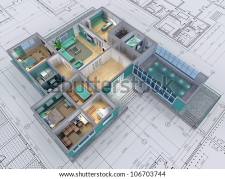 Cross-section of residential house. 3D image.