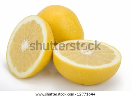 Cross section of ripe grapefruit on white background. Clipping path incl.