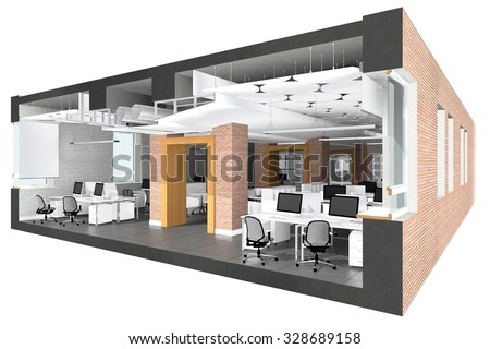 Cross section of the office space. Architectural visualization isolated on white Stock photo ©