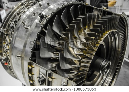 Cross section of turbofan jet engine