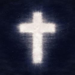 Cross shape shine in dark night cloud sky. Christian conceptual image background