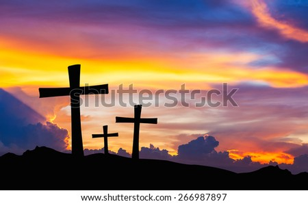 cross silhouette on mountain with twilight sky. #266987897