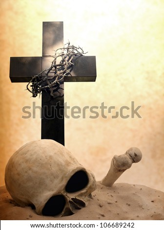 Cross skull and bones doomsday apocalypse revelation religion concept background