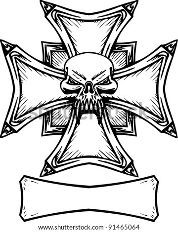 Cross with Wings and Skulls Drawings