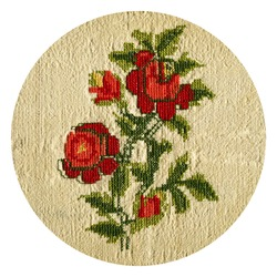 Cross-stitch needlework stitching on beige linen cloth and embroidered red rose, handmade cross stitch