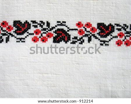 Cross-stitch. Traditional black and red ukrainian design, berries. (I'm creator) - stock photo