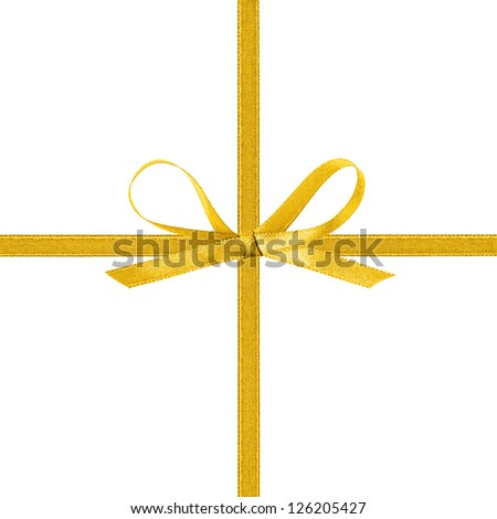 cross thin yellow ribbon with bow, isolated on white