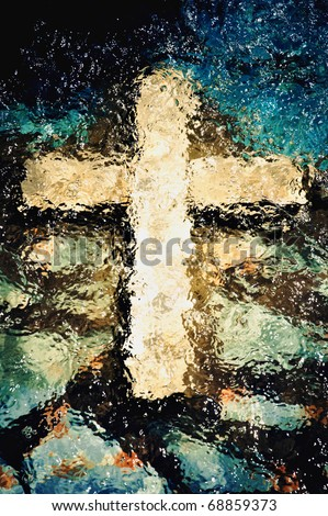 Cross under the water. Christian holy symbol
