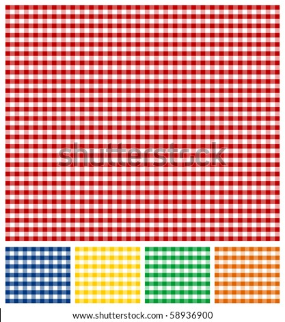 Cross-weave Gingham Seamless Tiles: Red and white background. Same pattern in Yellow, Green, Blue and Orange, below. Vector available.