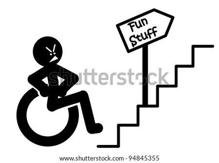 Cross Wheelchair Symbol unable to gain access up stairs