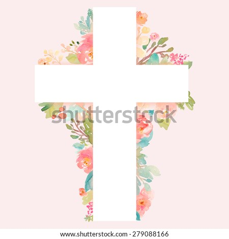 Cross With Flowers. Watercolor Flower Cross. Cross Outlined With Watercolor Floral Elements. Pink Christian Cross. Easter Cross