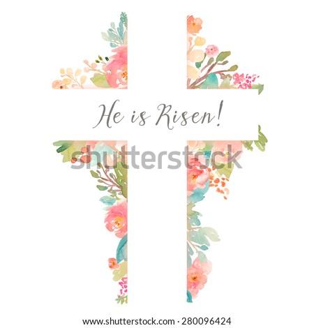 Cross With Flowers. Watercolor Flower Cross. He is Risen Easter Christian Cross Background
