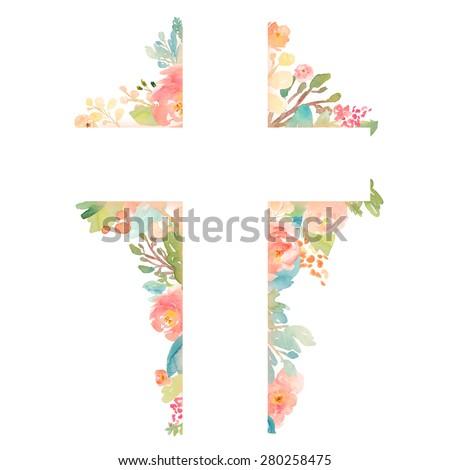 Cross With Flowers. Watercolor Flower Cross. Watercolor Easter Cross. Easter Christian Cross With Watercolour Flowers. Watercolor Cross