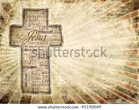 Cross With Religious Words  on grunge background.