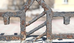 crossbar pole metal,   rusty metal texture,  deep fracture of metal with peeling paint, Concept of anti-corrosion painting.