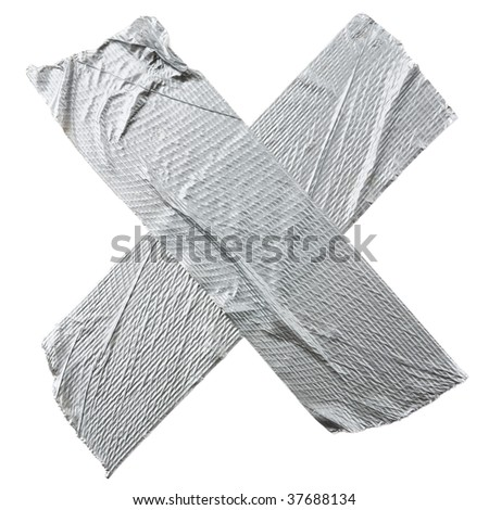 Crossed duct tape strips isolated on white background