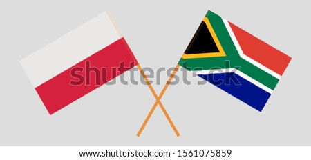 Crossed flags of the RSA and Poland Stock fotó ©