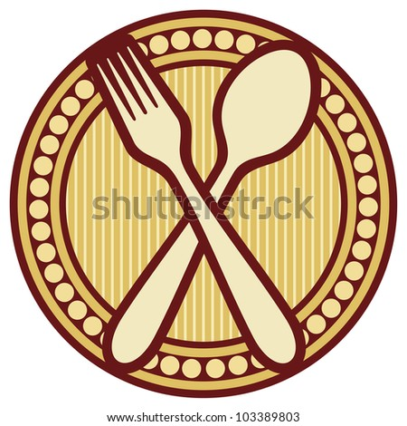 crossed fork and spoon design (crossed fork and spoon symbol, badge)