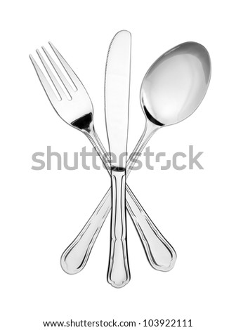 Crossed fork, spoon and knife isolated on white