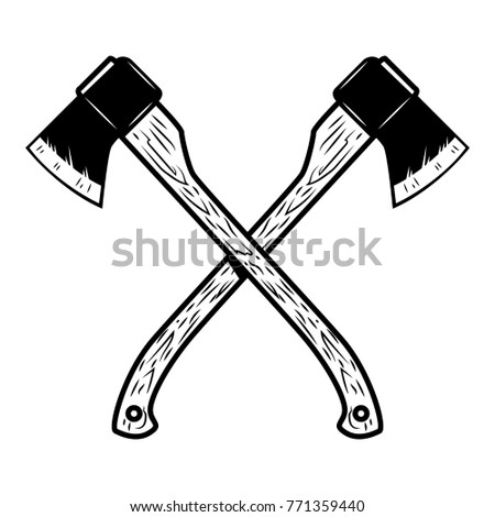 Crossed lumberjack axes isolated on white background. Design element for poster, emblem, sign, banner.
