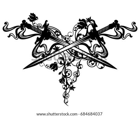 crossed swords among rose flowers - vintage style design element