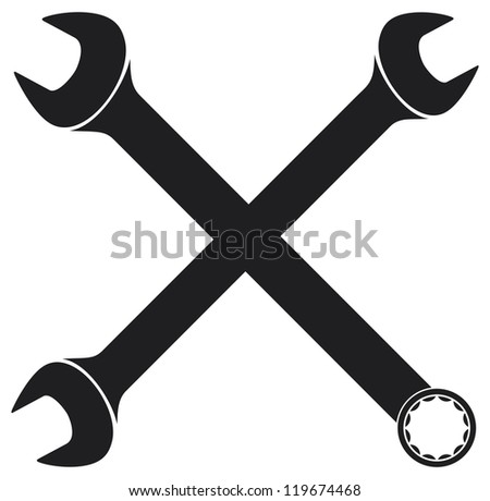 crossed wrenches (hand wrench tool or spanner, crossed wrenches silhouette)