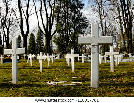 Crosses for unknown soldiers and victims of Second World War. Krakow Cemetery, Poland.