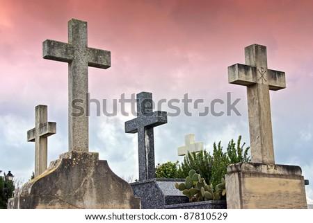 Crosses in the catholic cemetery of Alcudia (Majorca - Balearic Islands)