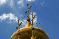 Crosses of the Annunciation Cathedral domes. The cathedral was a home church of Moscow Great Princes and Tsars intended for royal ceremonies and keeping the royal treasury.