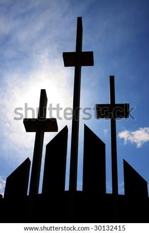 Crosses on church facade