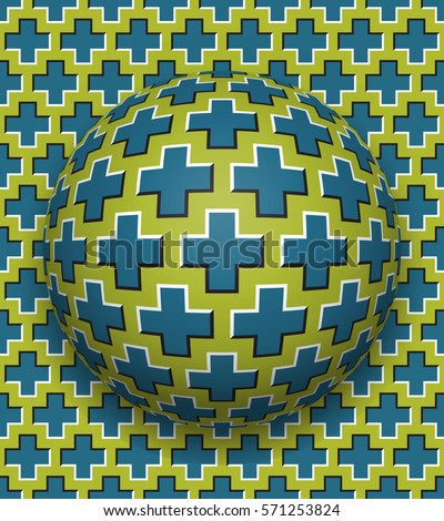 Crosses patterned ball rolling along the same surface. Abstract bitmap; raster optical illusion bitmap illustration. Motion background and tile of seamless wallpaper.