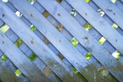Crosshatch Wooden Fence Blue Paint