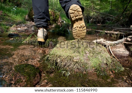 Crossing a small Creek in the forest