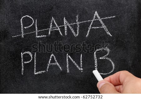 Crossing out Plan A and writing Plan B concept for change of plan - stock photo