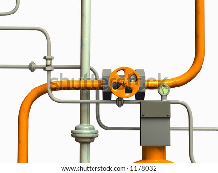Crossing pipes system, white background. CG illustration.