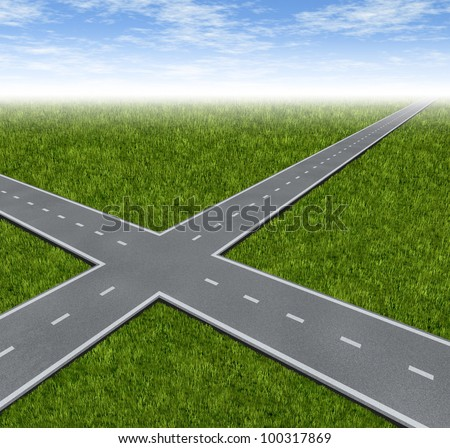 Crossroad Decision Dilemma with two roads crossing as a business symbol of difficult financial choices deciding to choose the best path to success and wealth on a green grass summer landscape.