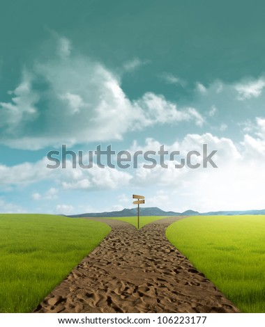 Crossroad dirt in rural landscape in sunset time