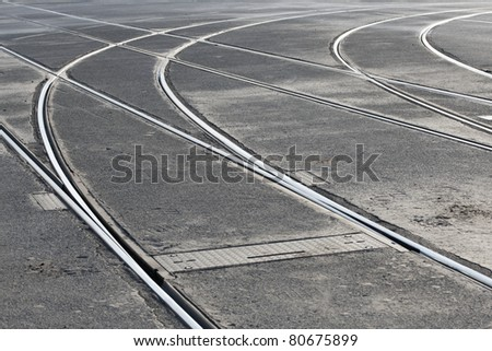 Crossroad of tram rail lines, Prague.