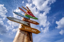 Crossroad signpost saying Hard Way , Easy Way, Wrong Way , Right Way and many other ways.  Decision making concept.