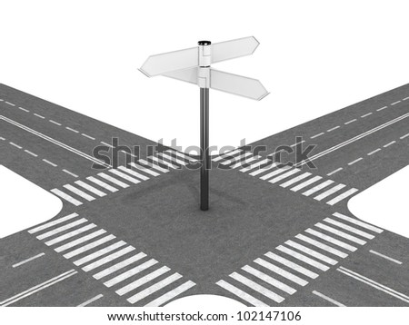 Crossroad with signpost