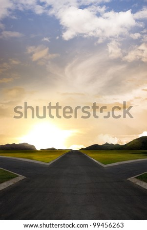 crossroads representing opportunities - stock photo