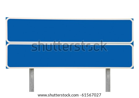 Crossroads Road Sign, Two Arrow Blue Isolated