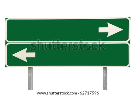 Crossroads Road Sign, Two Arrow Green Isolated