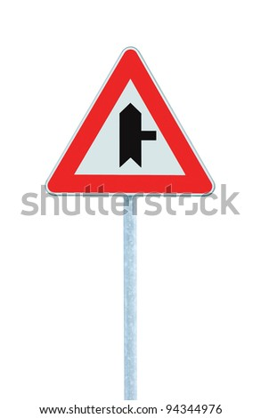 Crossroads Warning Main Road Sign With Pole Right, isolated
