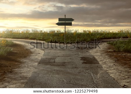 Crossroads with signpost (3D Rendering)